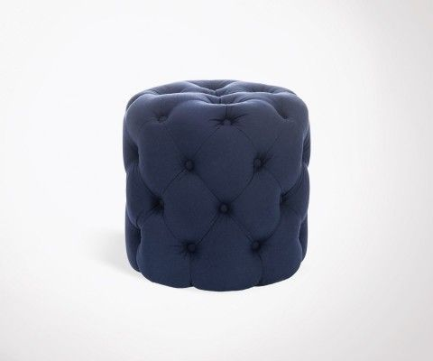 Cylindrical pouf with blue cotton button WElZ