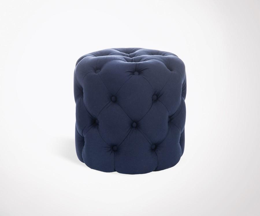 Pouf cylindrique avec bouton coton bleu WElZ