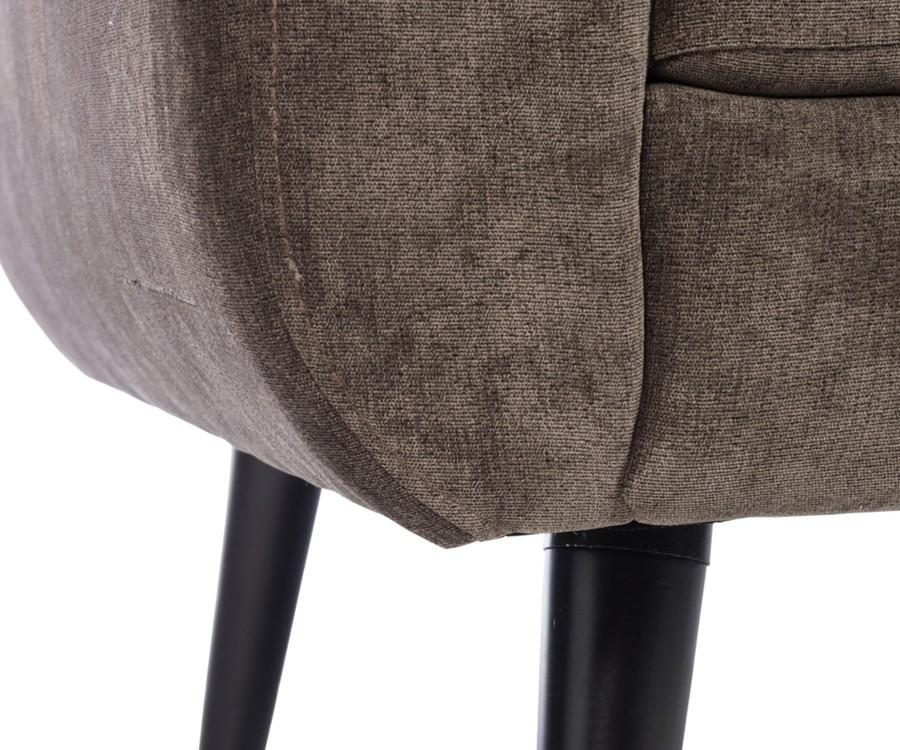 Fauteuil design tissu velours chocolat CRAQUANT
