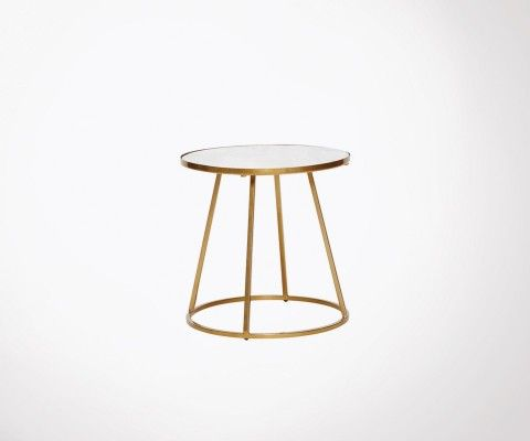 Coffee table 40cm white marble and golden brass BIANCA - Hubsch