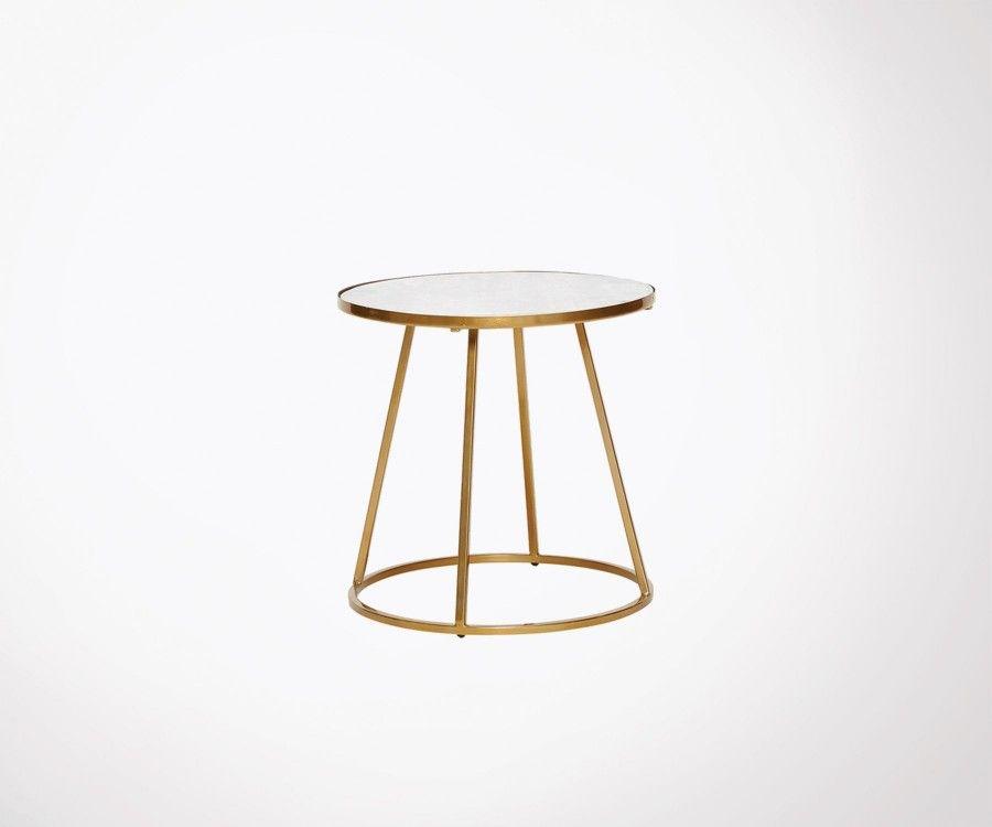 Table basse 40cm marbre blanc et laiton doré BIANCA - Hubsch