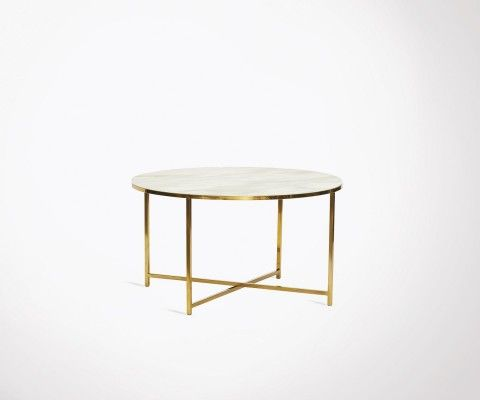 Coffee table 80cm white marble and golden brass frame BERNARD - Hubsch