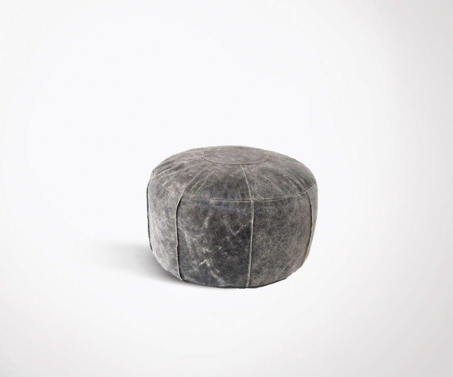 Pouf rustique cuir gris effet usé COOL