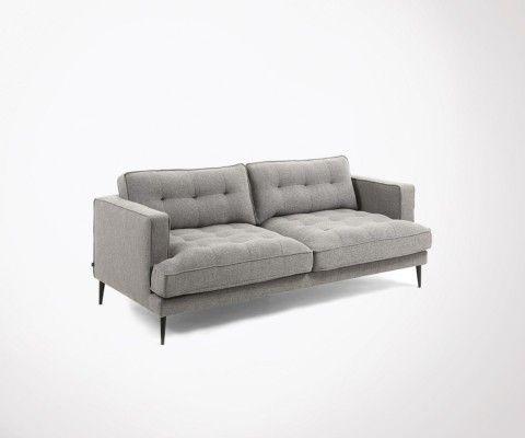 Canapé 3 places pieds métal tissu gris RELAX