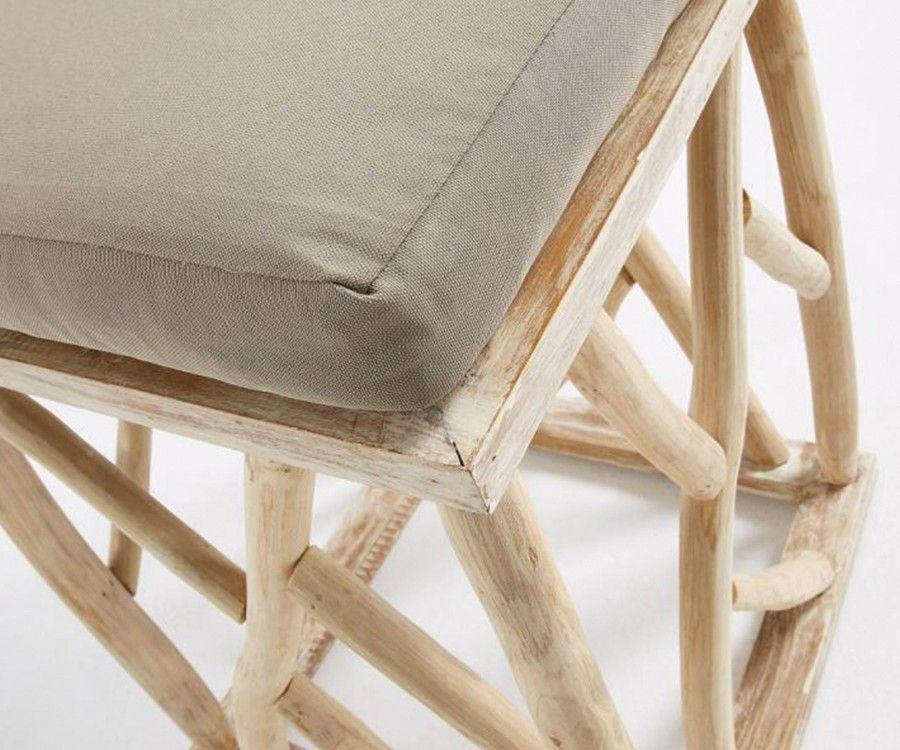Repose-pieds bois teck tissu beige JULES