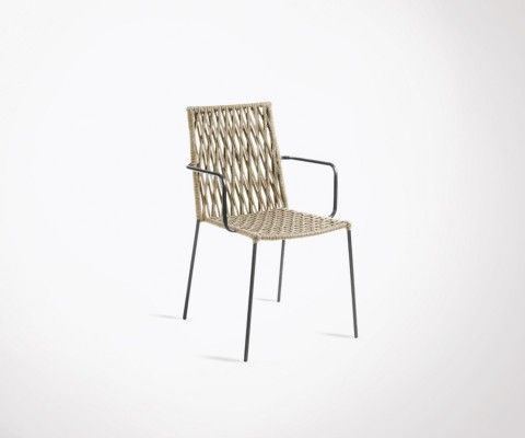 Armchair design metal and rope GATSBY
