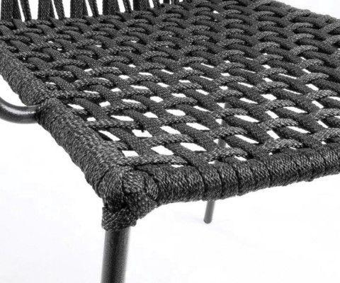 Chaise bras métal gris corde beige GATSBY