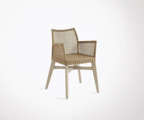Outdoor chair woven rope and acacia feet LOLA
