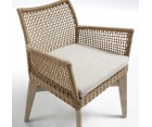 Chaise bras acacia patine blanc corde beige LOLA