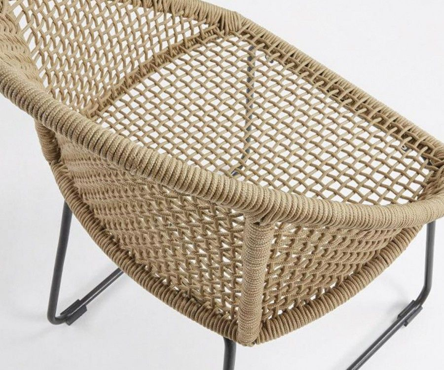 Chaise bras métal gris corde beige TRESSIA
