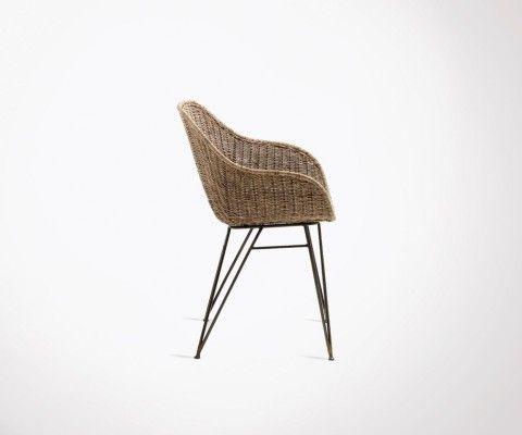 Chaise bras métal gris rotin naturel BOLERO
