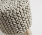Repose-pieds bois eucalyptus coton blanc WIZZ