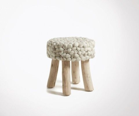 White wool eucalyptus wood footstool LAINA