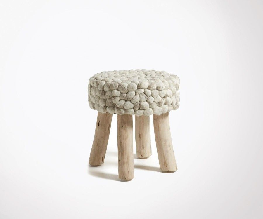 Repose-pieds bois eucalyptus laine blanc LAINA
