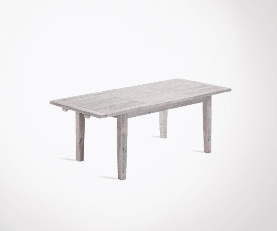 Table extensible 160-220cm bois sapin blanc patine LEO