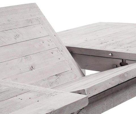 Table extensible 160-220cm bois sapin blanc patine LEO