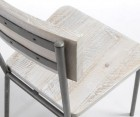 Chaise métal bois sapin blanc patine LEO