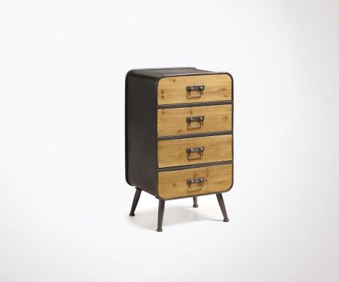 GUILLAUME gray metal wood industrial commode