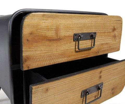 Table Appoint bois métal gris GUILLAUME
