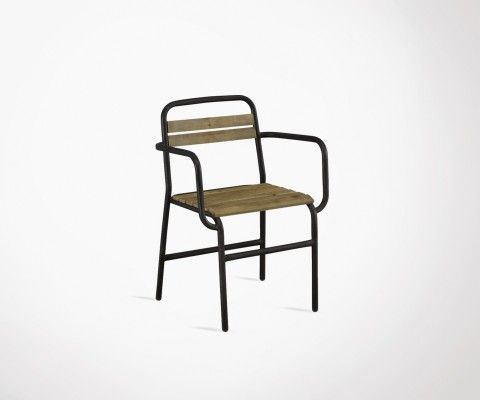 Elm wood outdoor chair black metal PARNASSE