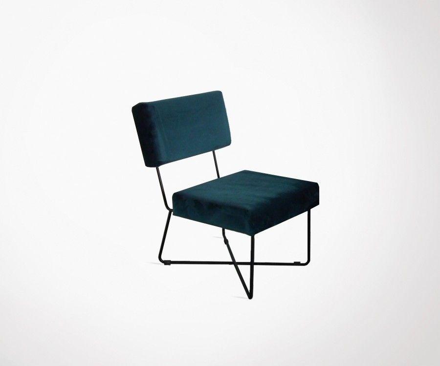Chaise lounge design tissu bleu canard KARLINA
