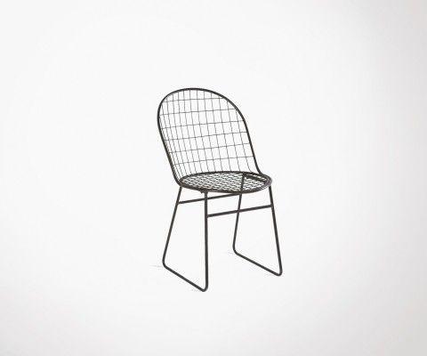 Chaise métal quadrillé noir MISSOURI