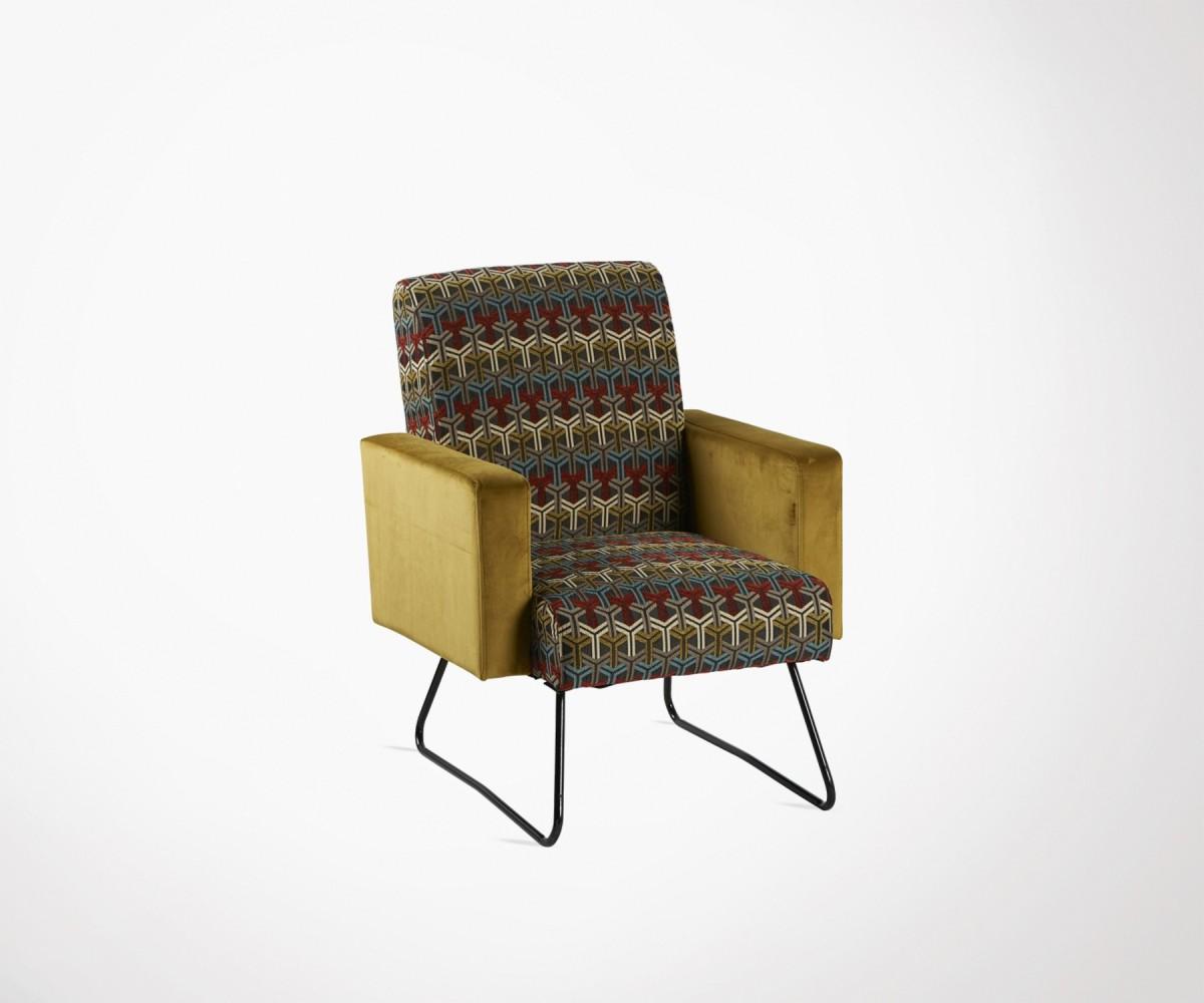 Fauteuil salon design ethnique jaune avec motifs marque hanjel - Fauteuils salon design ...