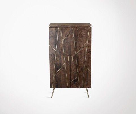 Buffet haut style art déco bois rainures dorées BOG