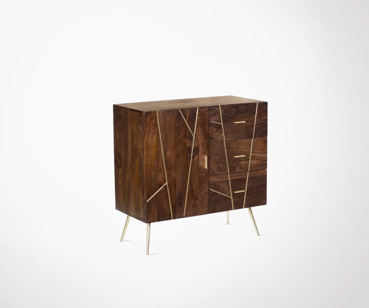 bahut 85cm style art déco bois métal rainures dorées hanjel