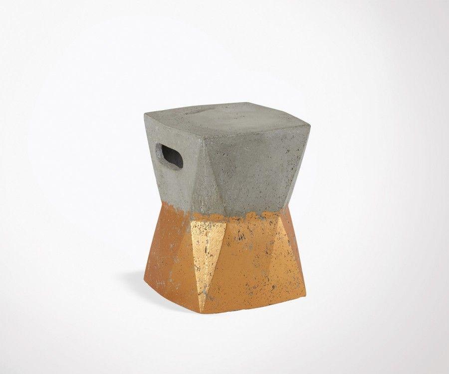 Tabouret 41cm béton cuivre ARVY