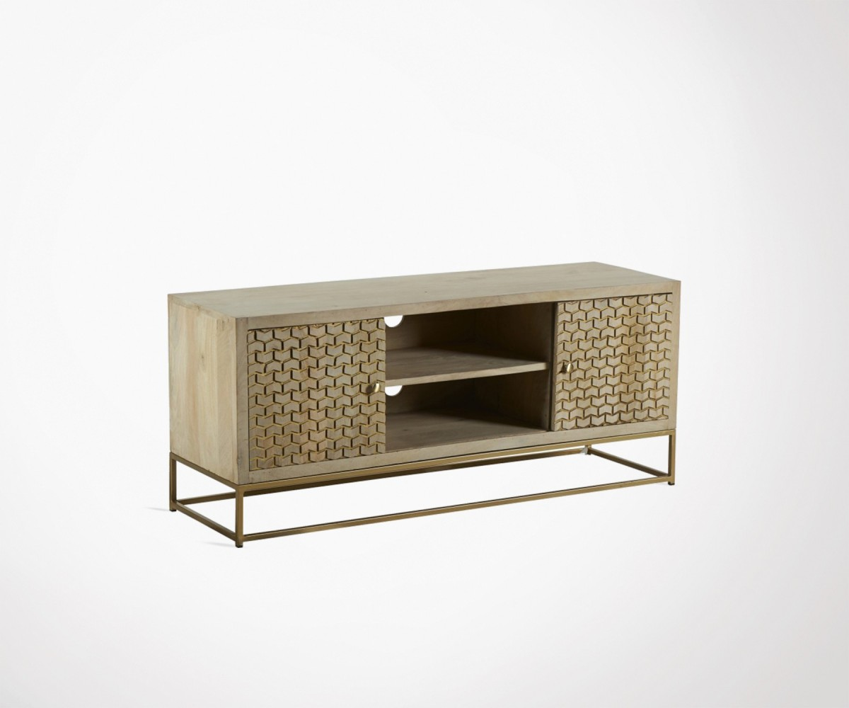 130cm Tv Cabinet Hanjel Art Deco Style Wood And Metal