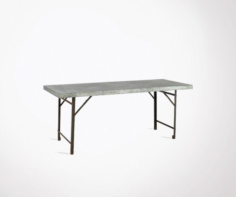Table à manger pliable 188cm plateau fer KAR
