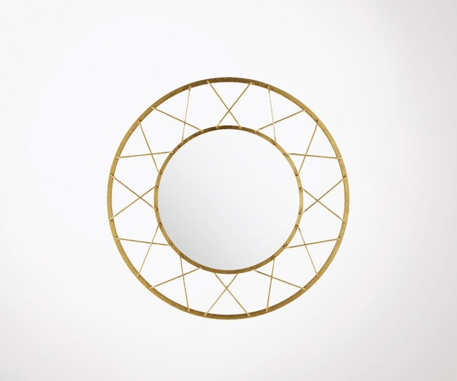 Grand miroir rond design rayon m tal dor art d co 91cm for Grand miroir rond design