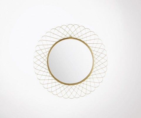 Large round mirror 90cm gold plated LITA