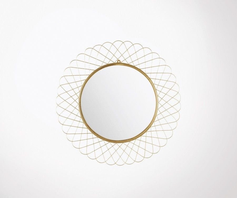 Grand miroir rond 90cm métal doré LITA