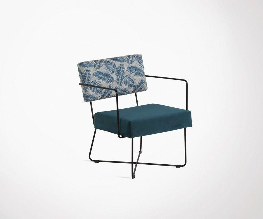 Chaise lounge design tissu et motifs KARLINA