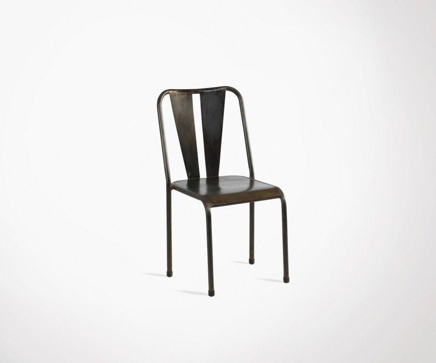 Chaise métallique café TULERAN