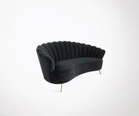 Canapé corolle 181cm tissu velours ZABETH