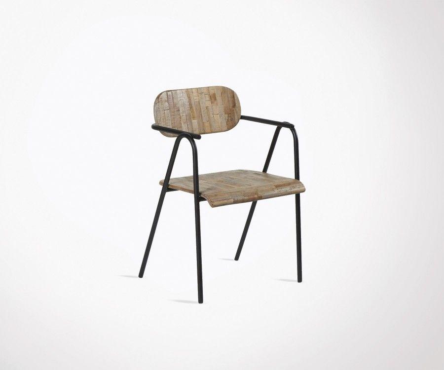 Chaise extérieur teck empilable HENZA