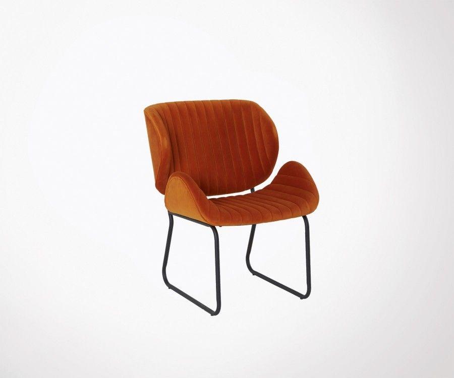 Fauteuil salon design tissu pieds métal LUBANA