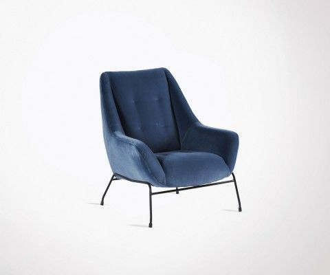 Upholstered velvet lounge chair OCTAVE