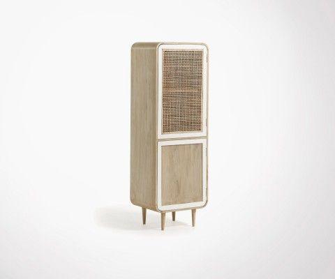 Armoire bois portes cannage ALDINE - 50x150cm