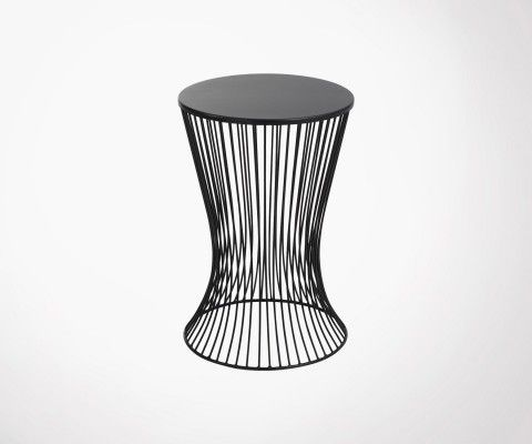 Side table 61cm black metal basket MARMAT