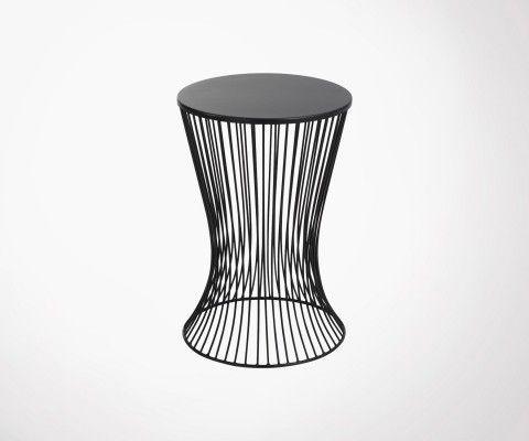 Table d'appoint 61cm panier métal noir MARMAT