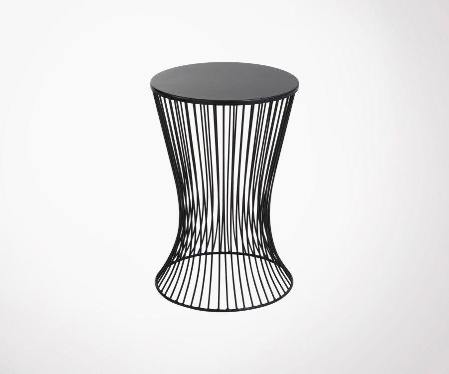 Table d'appoint 40cm panier métal noir MARMAT