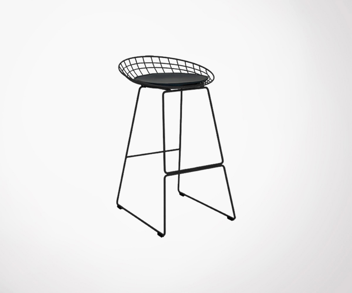 tabouret bar 80cm m tallique noir style wire look industriel. Black Bedroom Furniture Sets. Home Design Ideas