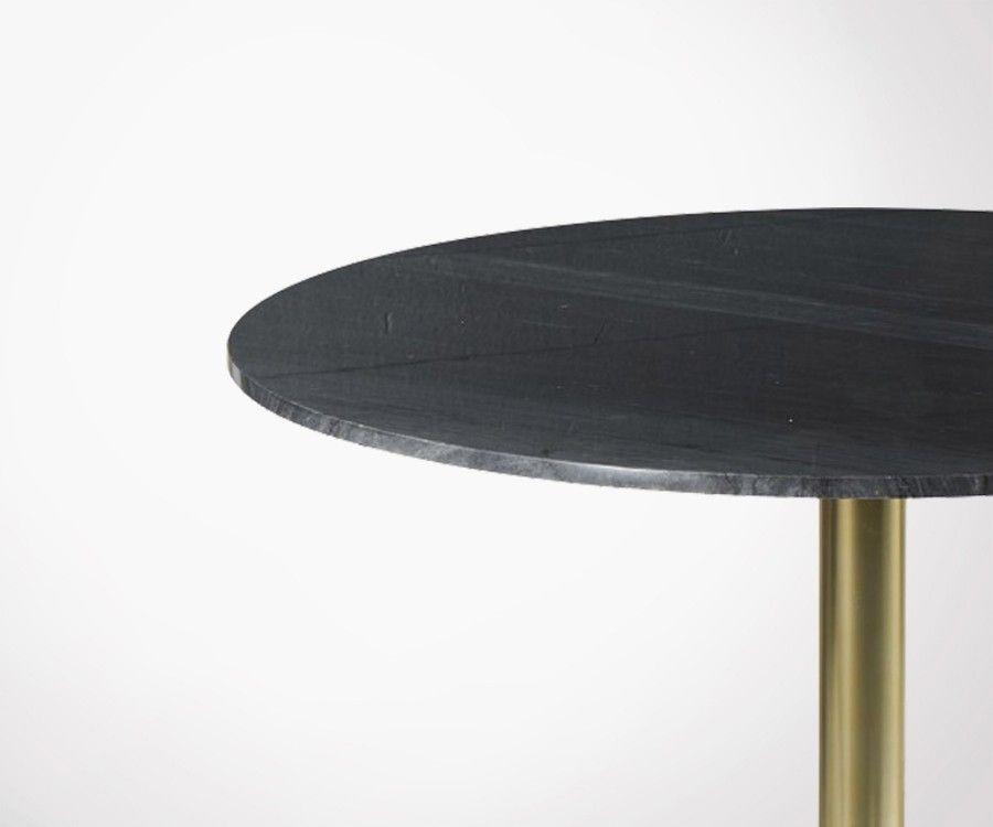 Table à manger marbre noir 100cm style rétro YORKIN
