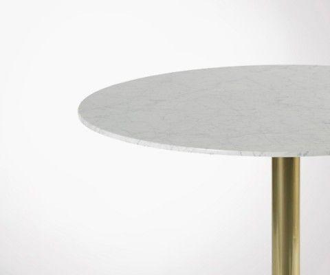 Table à manger rétro marbre blanc 100cm YORKIN