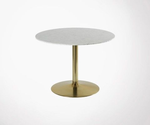 Retro dining table white marble 100cm YORKIN
