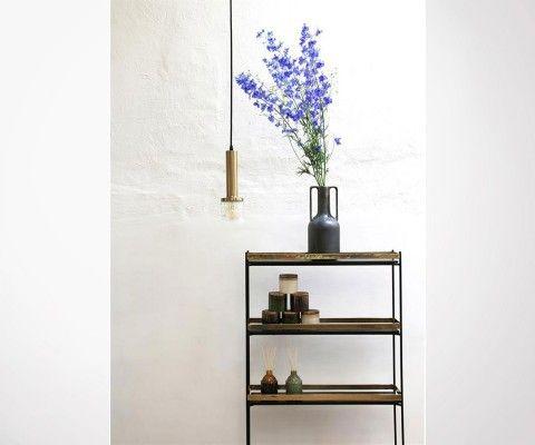Étagère fer noir 138cm finition laiton doré CEPTINE - HK Living